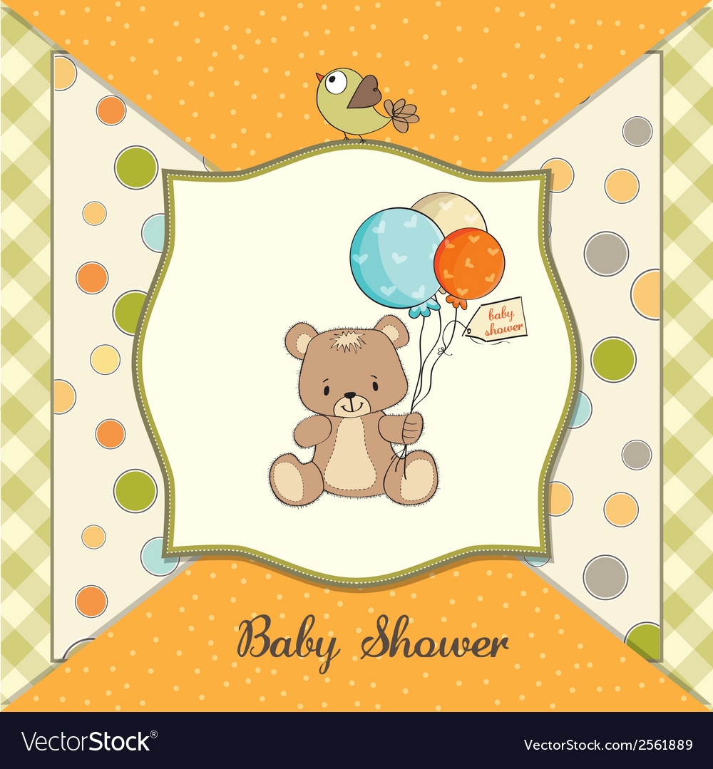 Baby shower card with cute teddy bear vector | Price: 1 Credit (USD $1)