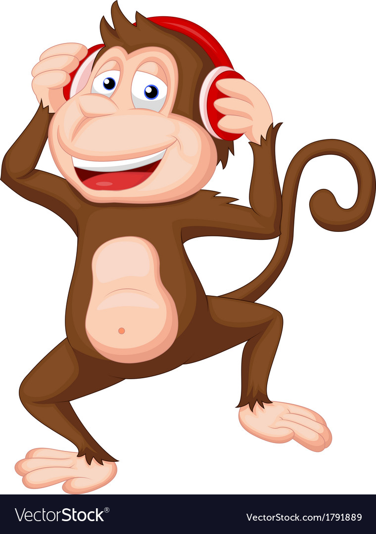 Cute monkey cartoon dancing vector | Price: 1 Credit (USD $1)