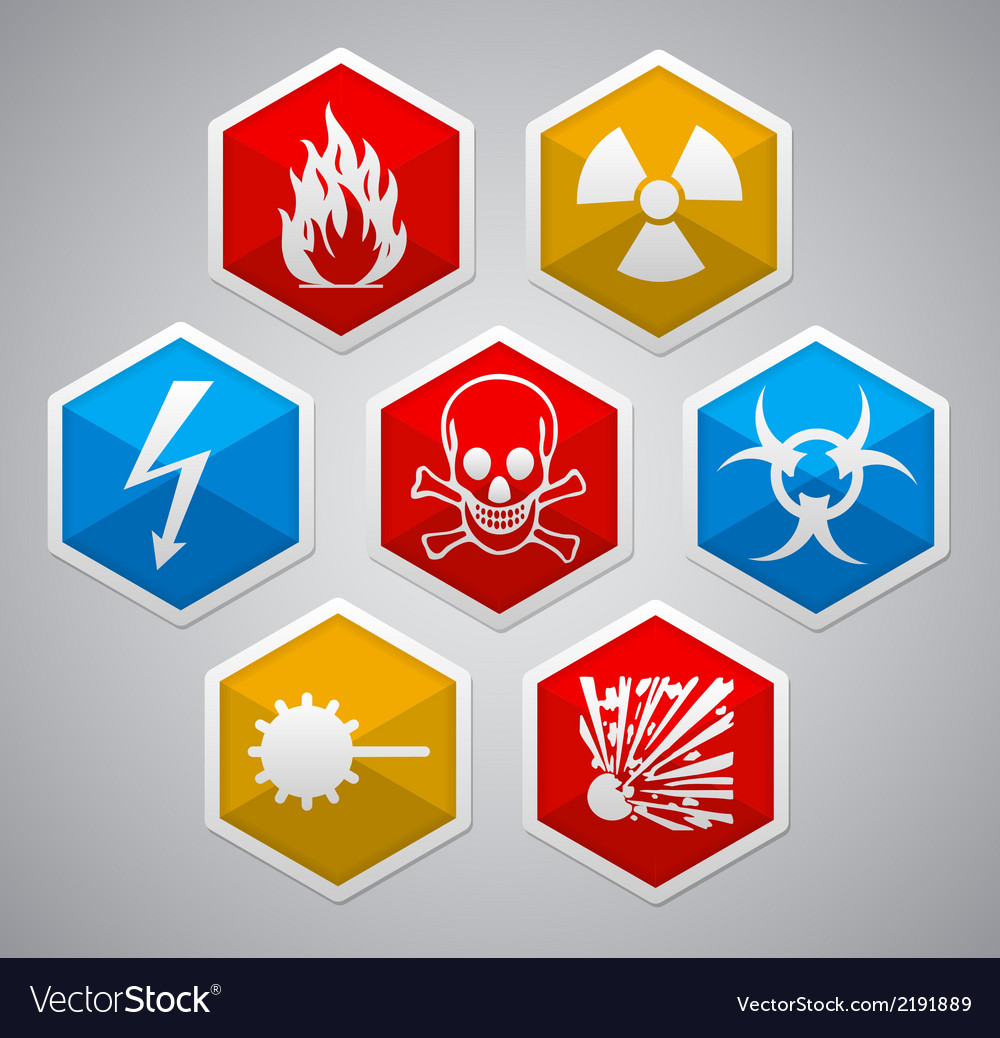 Danger hexagon icon sign set vector | Price: 1 Credit (USD $1)