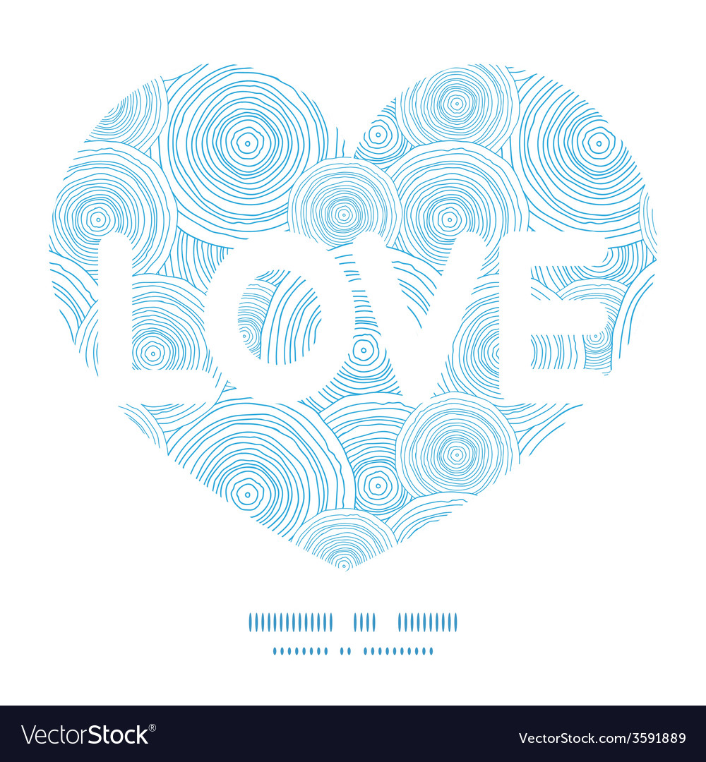 Doodle circle water texture love text frame vector | Price: 1 Credit (USD $1)