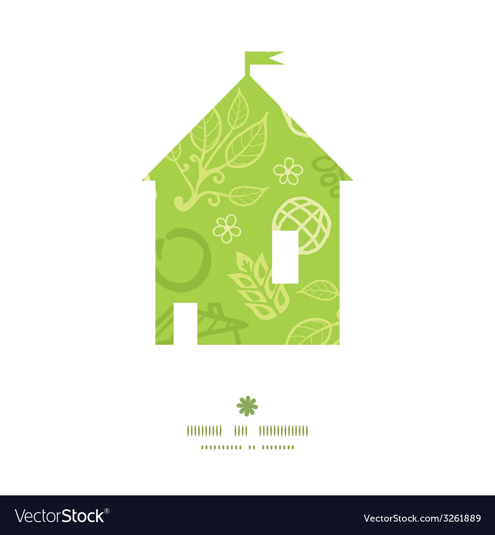 Environmental house silhouette pattern frame vector | Price: 1 Credit (USD $1)