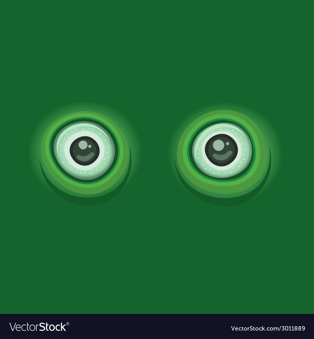 Green background with cartoon eyes vector | Price: 1 Credit (USD $1)