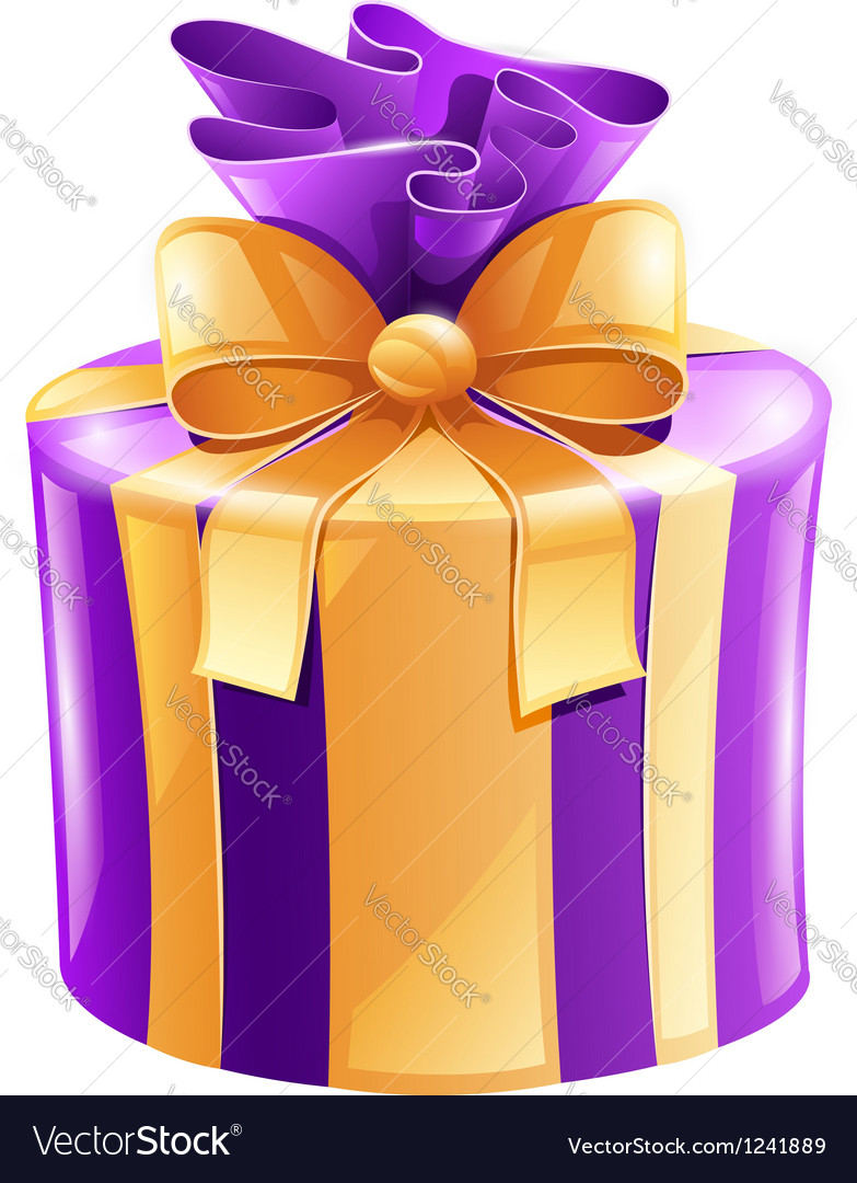 Holiday gift with gold ribbon vector | Price: 3 Credit (USD $3)