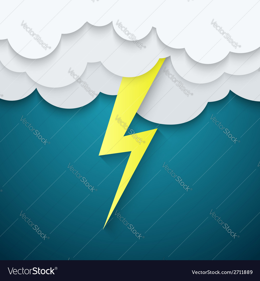 Lightning in the clouds on a blue background vector | Price: 1 Credit (USD $1)