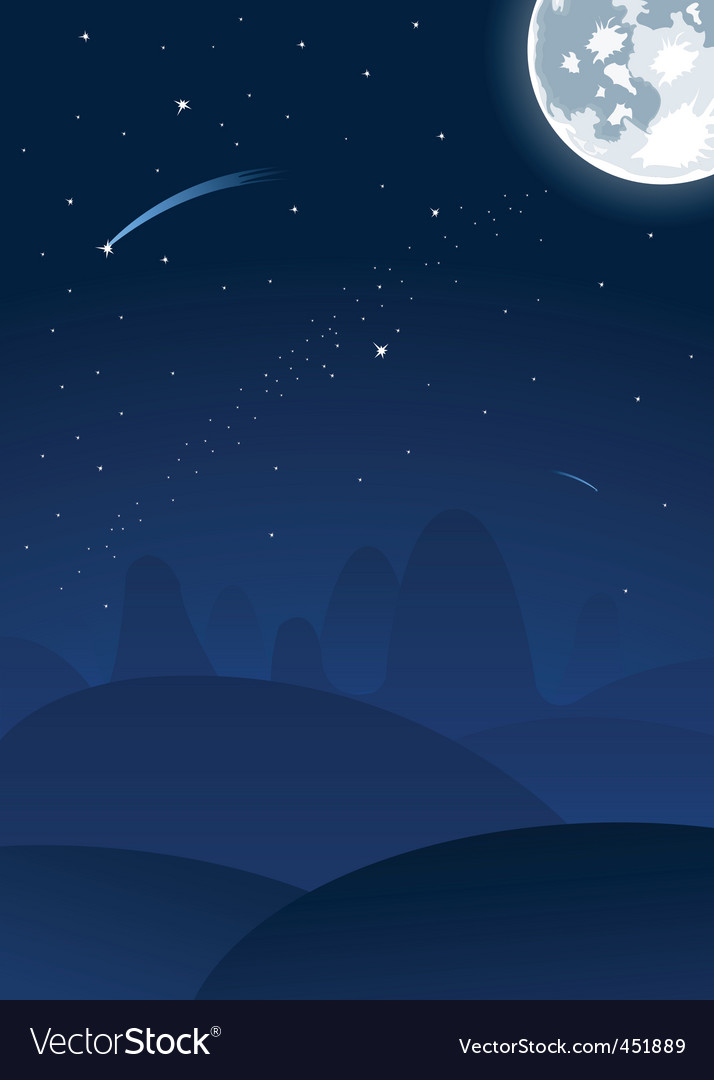 night landscape with moon vector | Price: 1 Credit (USD $1)