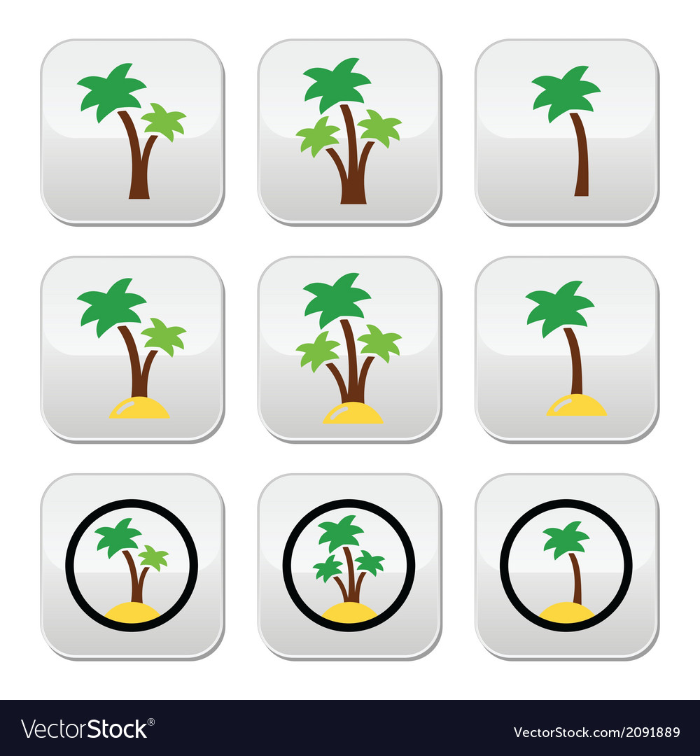 Palm trees exotic holidays on beach colorf vector | Price: 1 Credit (USD $1)