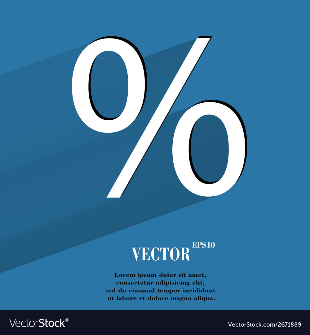 Percent flat modern web button with long shadow vector   Price: 1 Credit (USD $1)