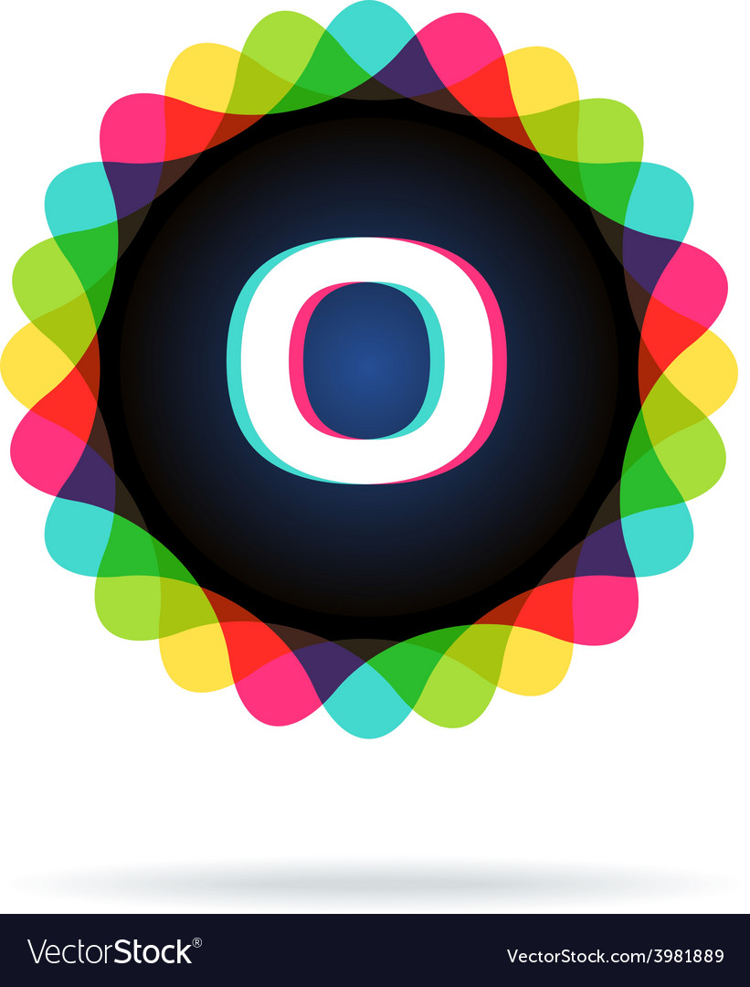 Retro bright colors logotype letter o vector | Price: 1 Credit (USD $1)