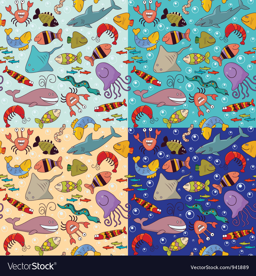 Seamless underwater wildlife vector | Price: 1 Credit (USD $1)