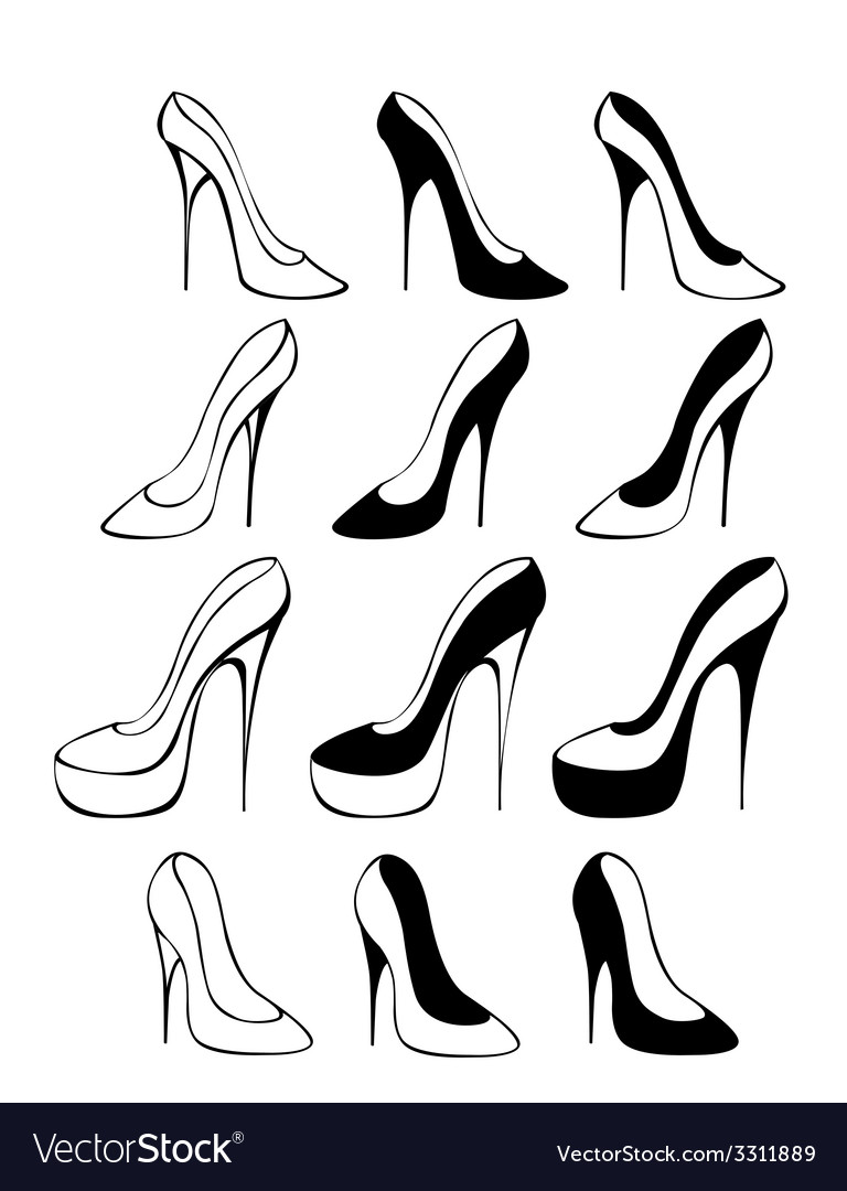 Silhouettes of shoes vector | Price: 1 Credit (USD $1)