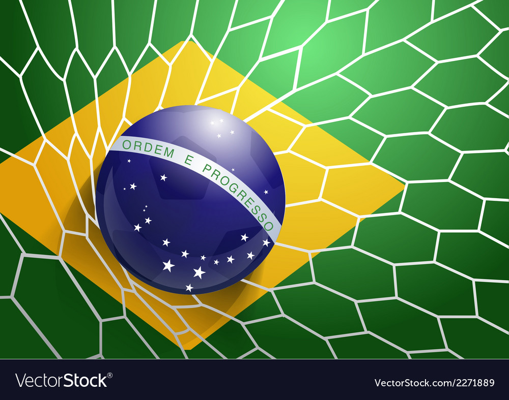 Soccer ball in net with brazil flag vector | Price: 1 Credit (USD $1)