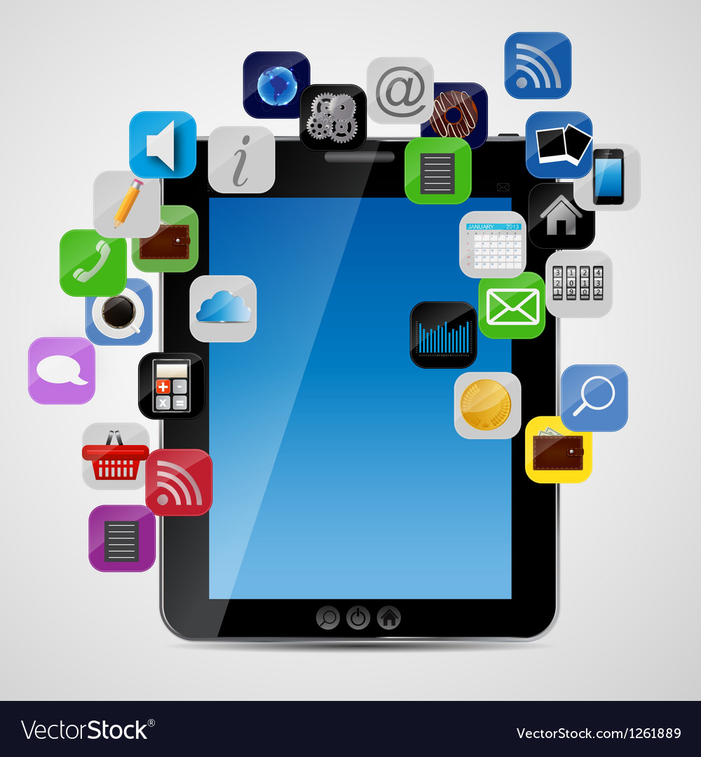 Universal design tablet with app icons vector | Price: 1 Credit (USD $1)