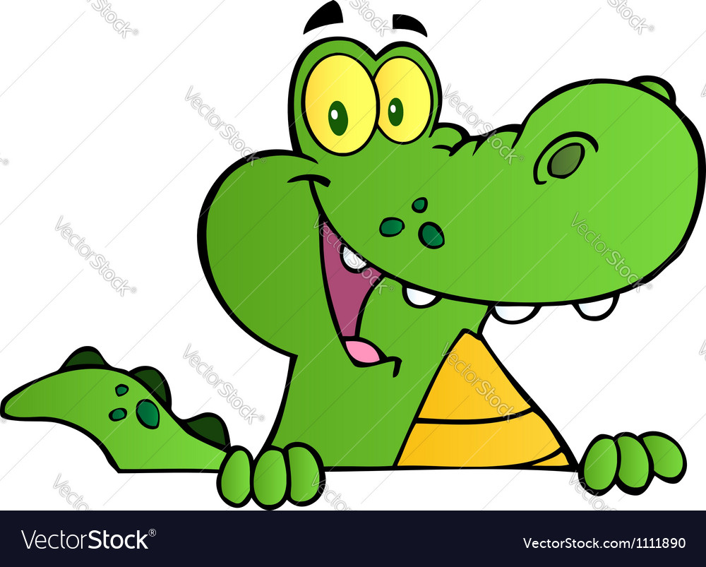 Alligator smiling over a sign board vector | Price: 1 Credit (USD $1)