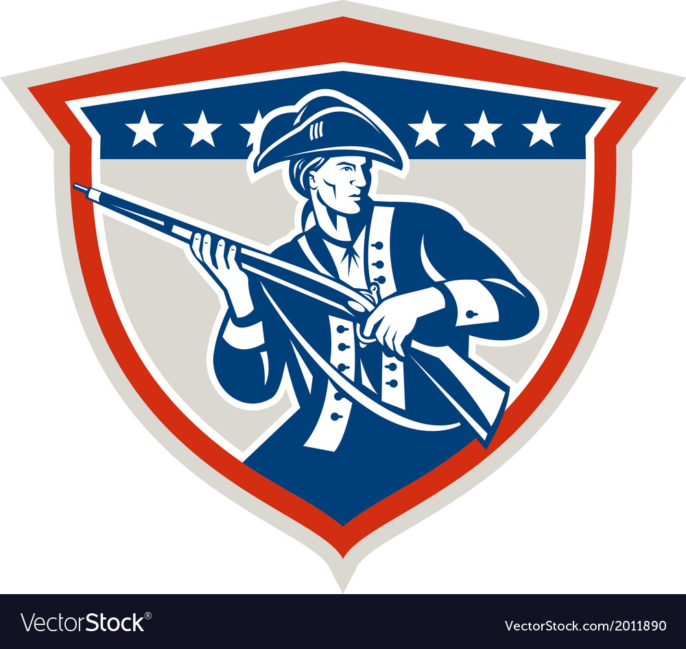 American patriot holding musket rifle shield retro vector | Price: 1 Credit (USD $1)
