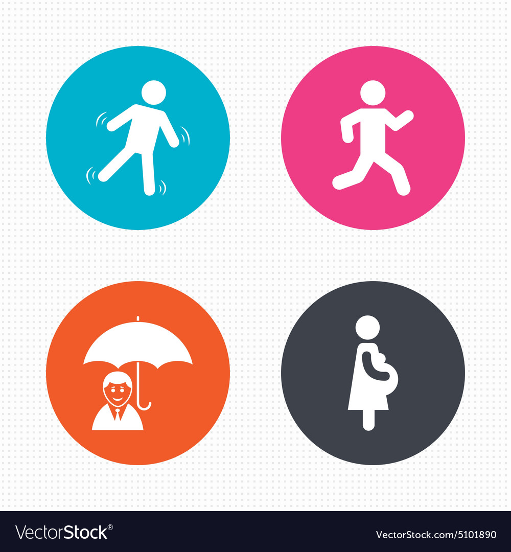 Businessman with umbrella human running symbol vector