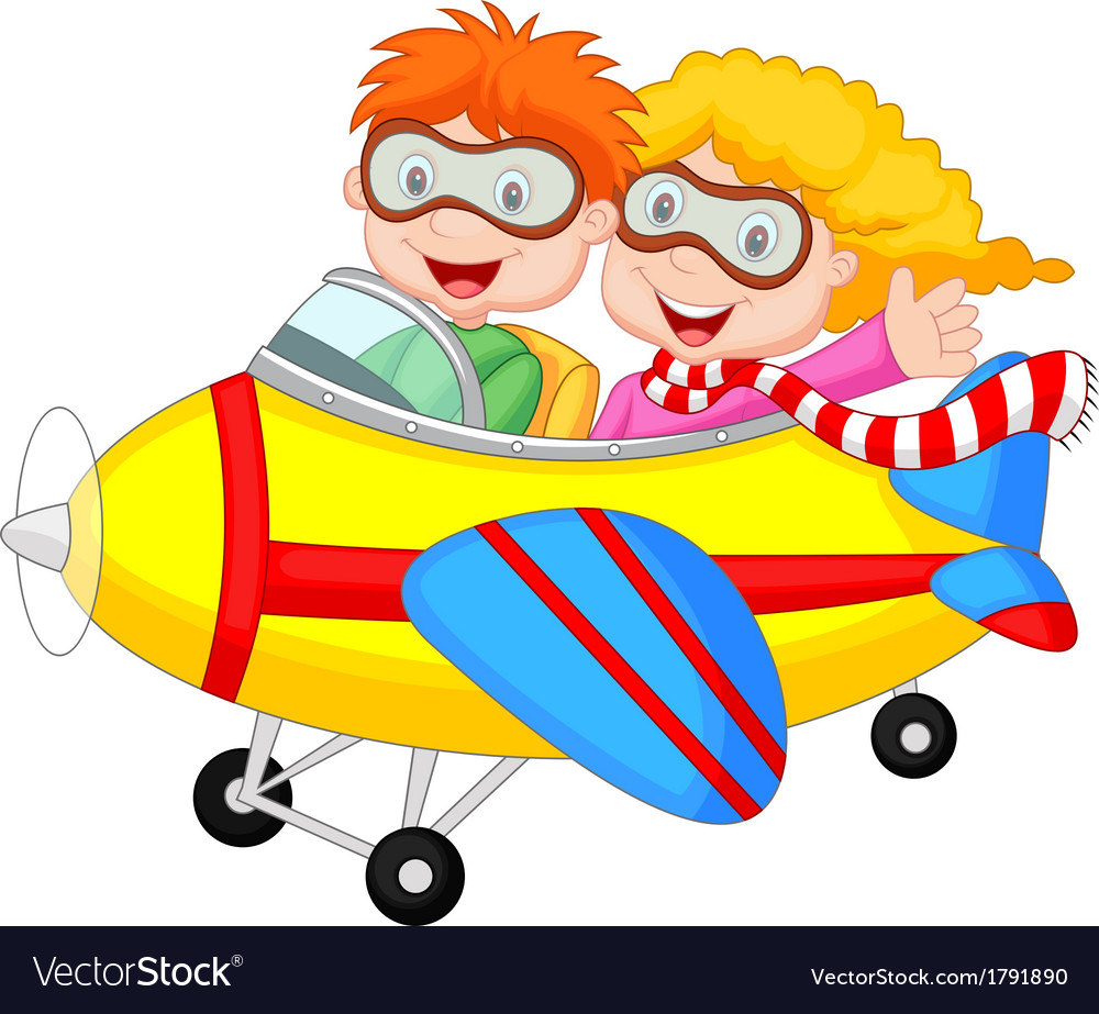 Cute cartoon boy and girl on a plane vector | Price: 1 Credit (USD $1)