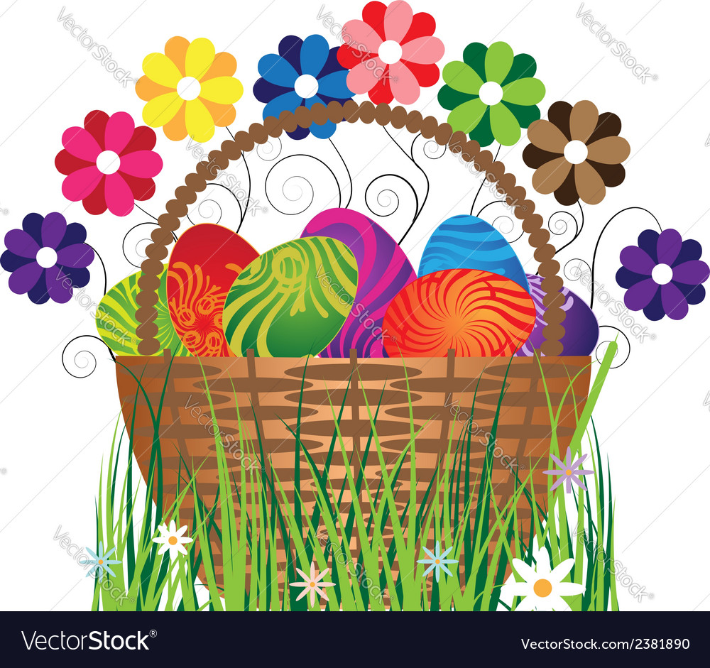 Eggs in the basket vector | Price: 1 Credit (USD $1)