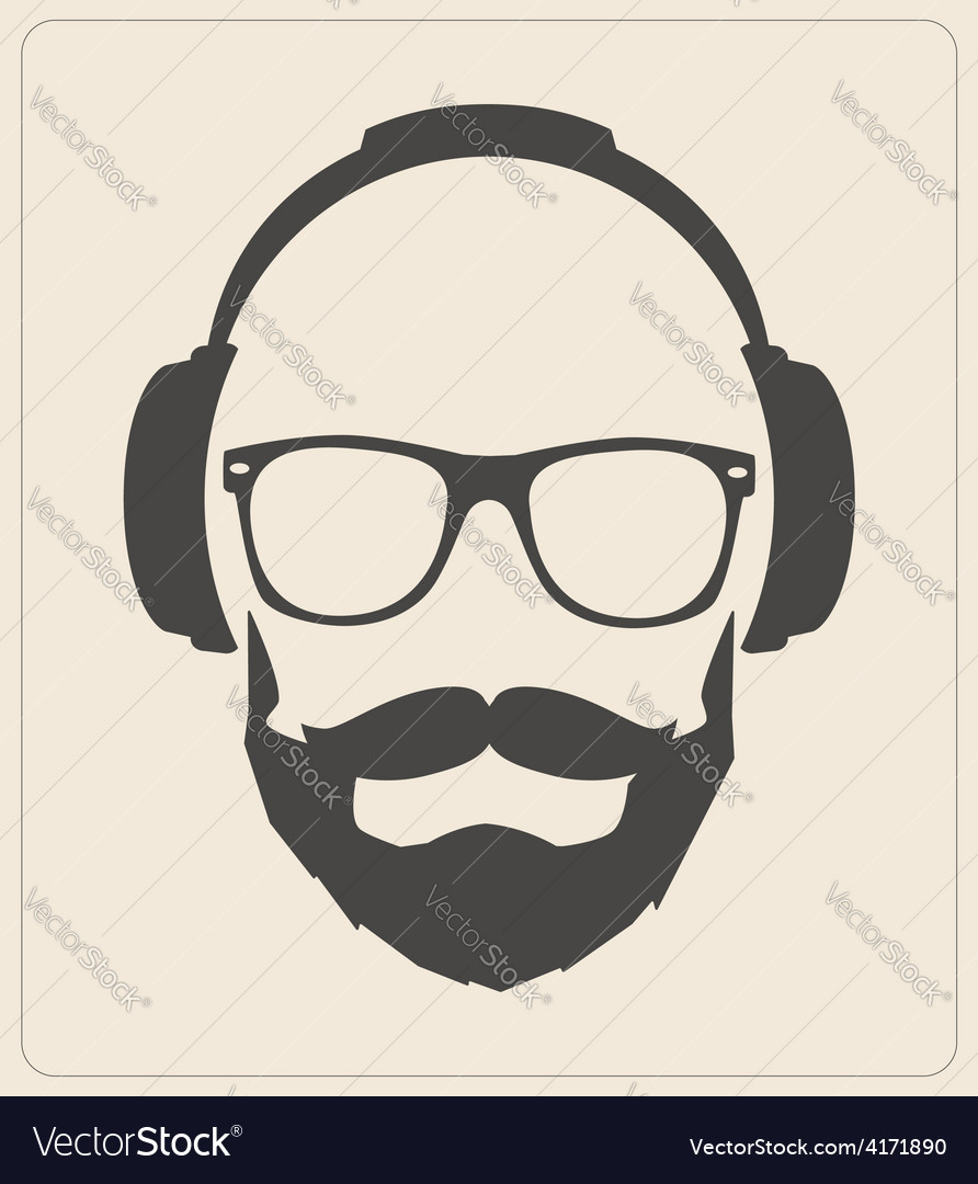 Hipster style set glasses mustaches headphones vector | Price: 1 Credit (USD $1)