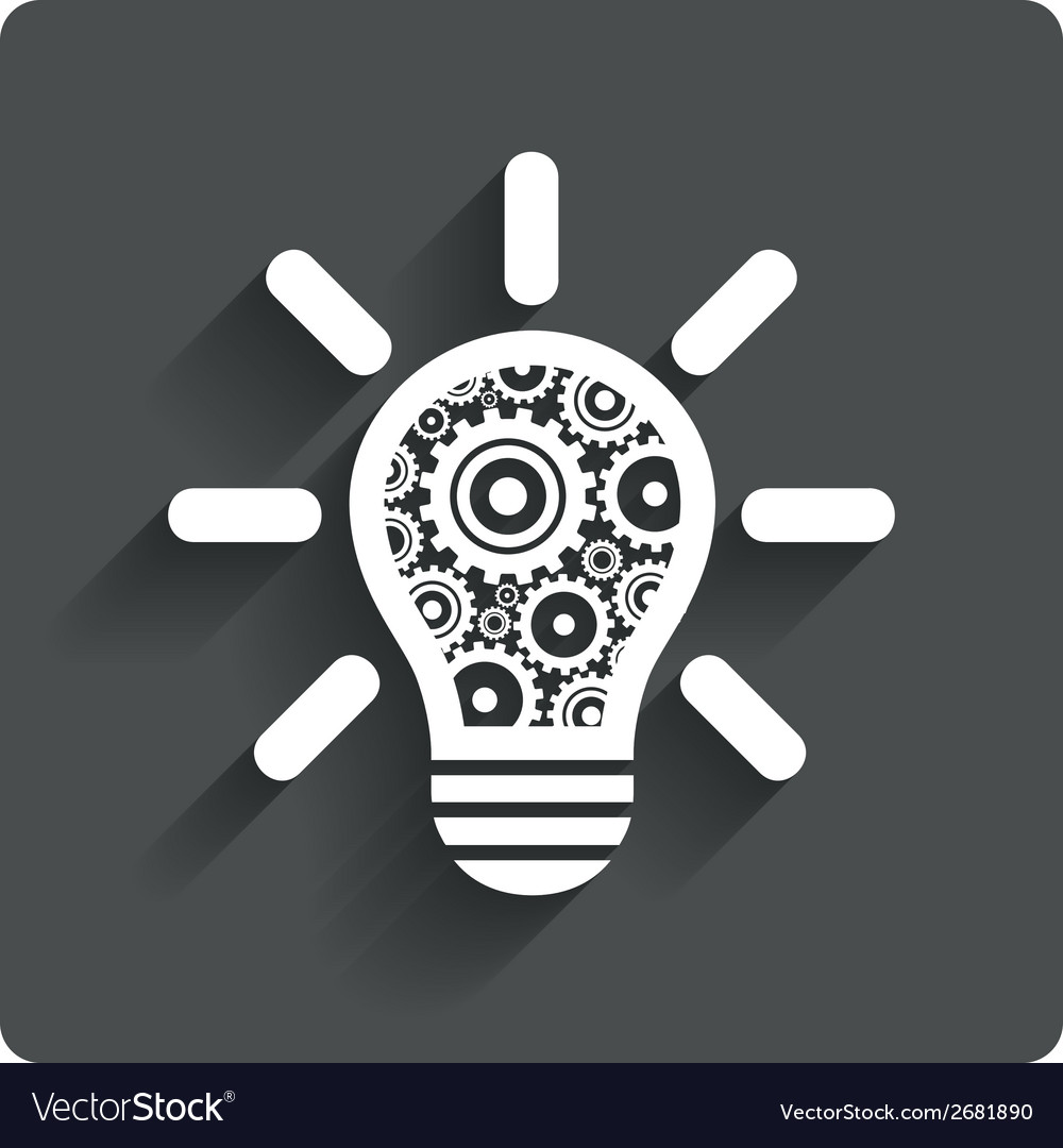 Light lamp sign icon bulb with gears symbol vector   Price: 1 Credit (USD $1)