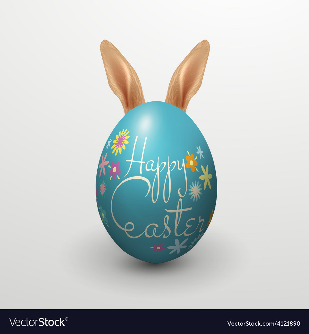 Realistic happy easter with egg rabbit vector   Price: 3 Credit (USD $3)