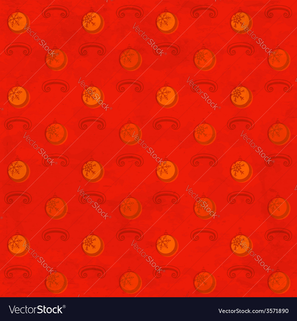 Red grungy pattern with christmas baubles vector | Price: 1 Credit (USD $1)