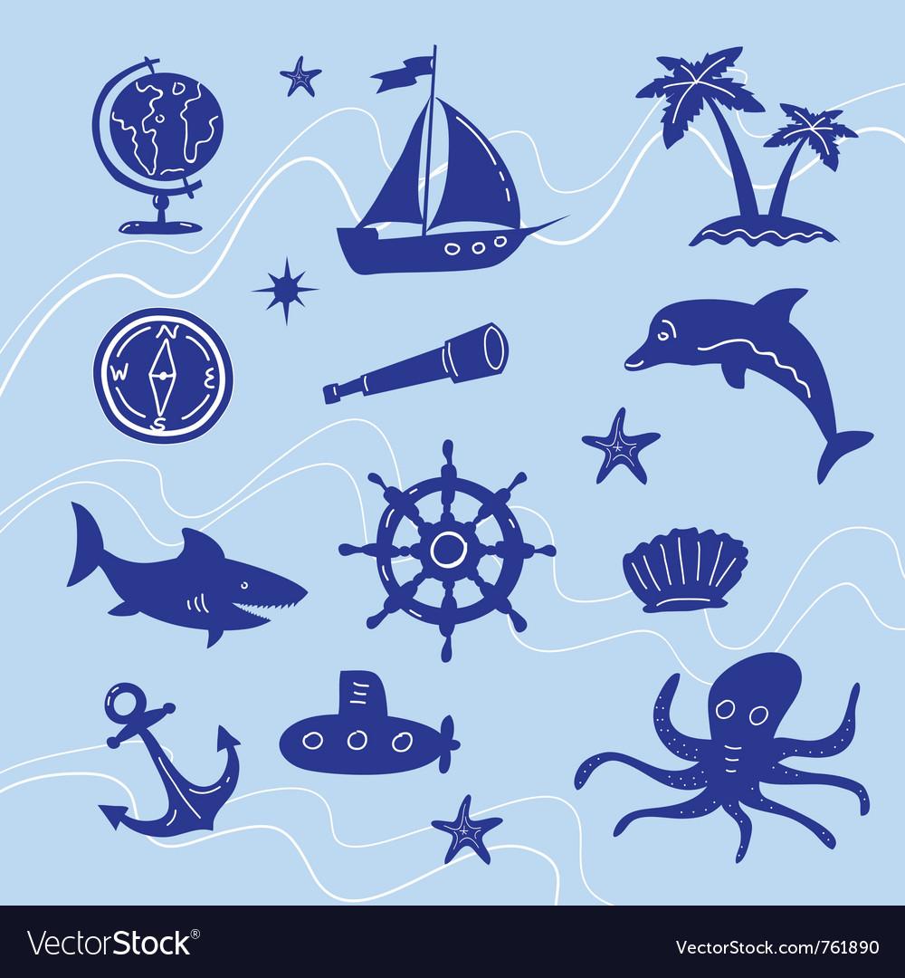 Sea adventure set vector | Price: 1 Credit (USD $1)
