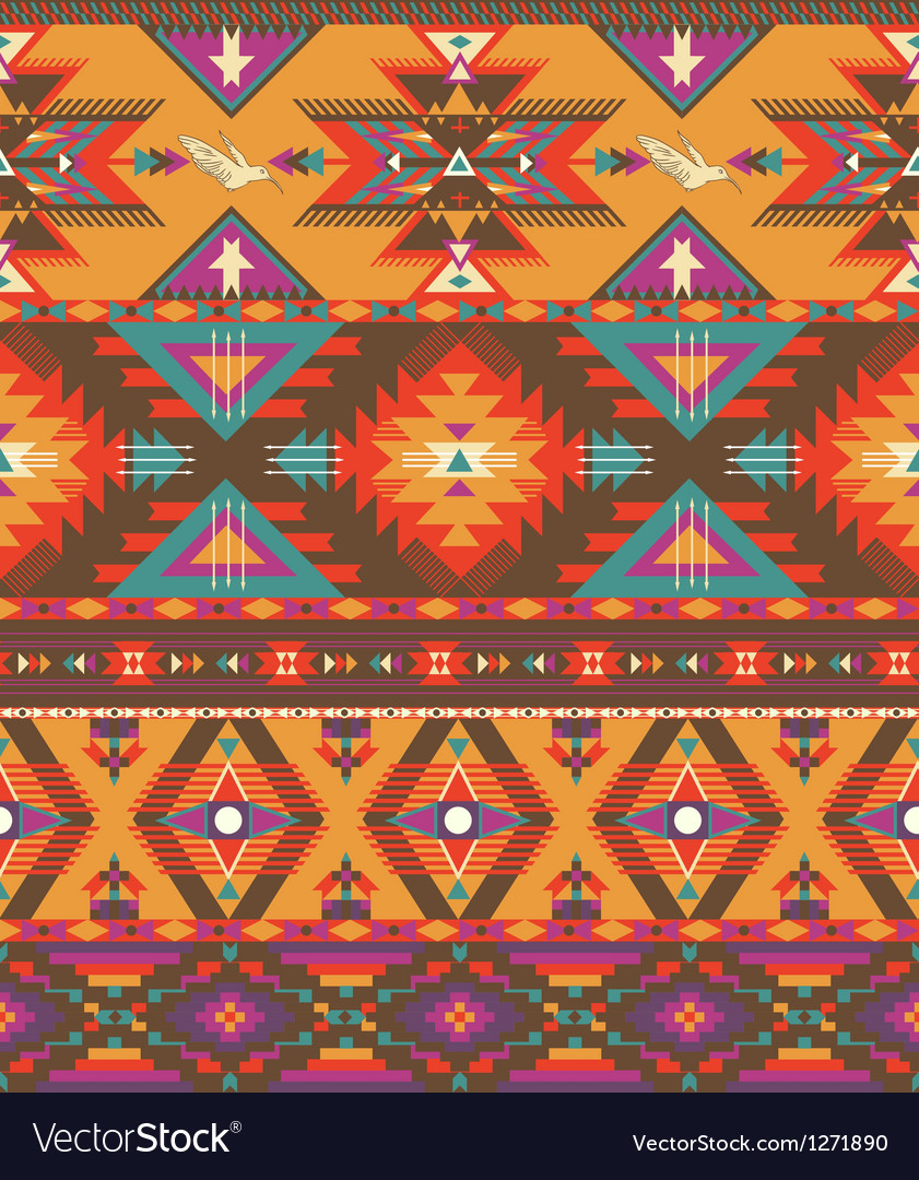 Seamless colorful aztec pattern vector | Price: 1 Credit (USD $1)
