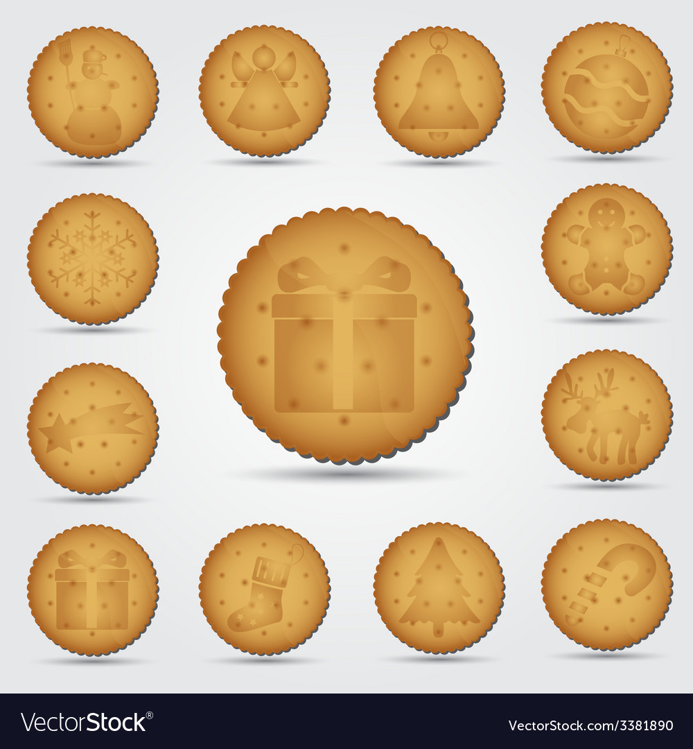 Set of christmas brown biscuit with symbols eps10 vector | Price: 1 Credit (USD $1)