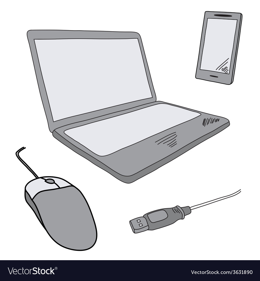 Sketch of notebook and mobile vector | Price: 1 Credit (USD $1)