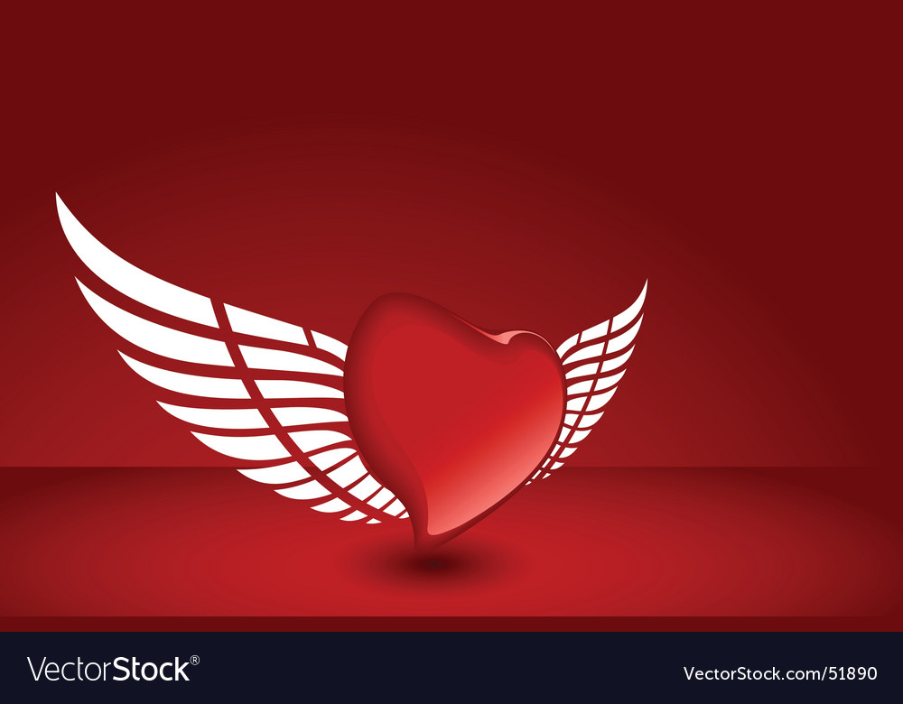 Valentines heart flying vector | Price: 1 Credit (USD $1)