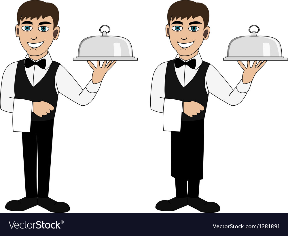 A waiter with a dish vector | Price: 1 Credit (USD $1)
