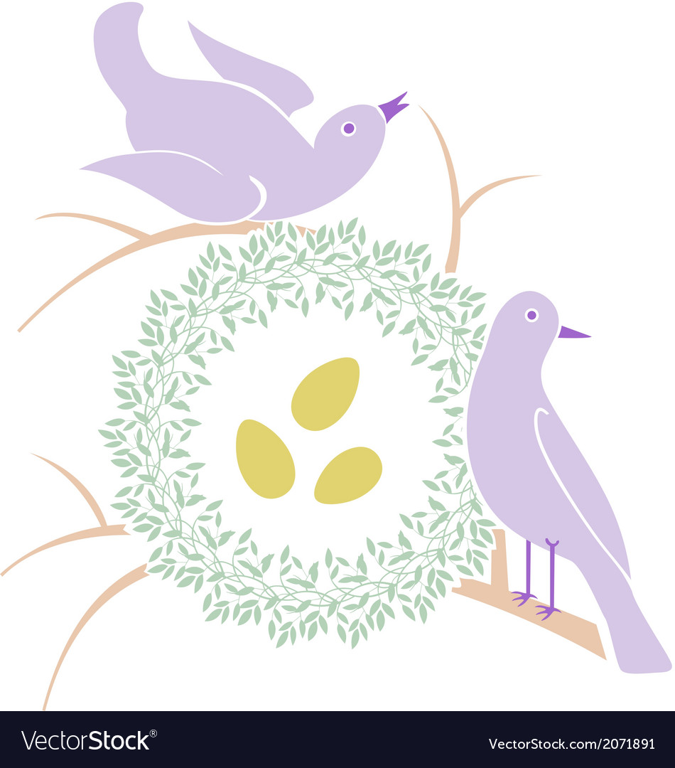Birds near nest vector | Price: 1 Credit (USD $1)