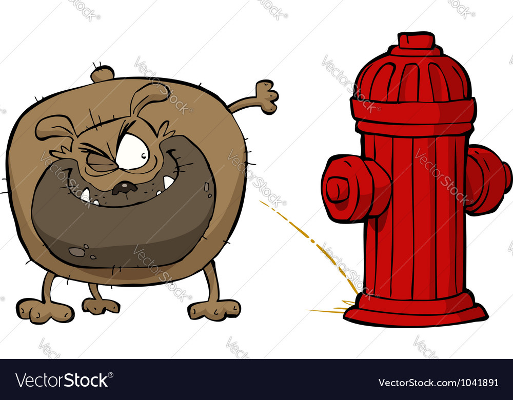 Dog pees on hydrant vector | Price: 1 Credit (USD $1)