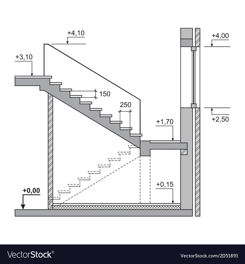 Draft project stairs on white background vector | Price: 1 Credit (USD $1)