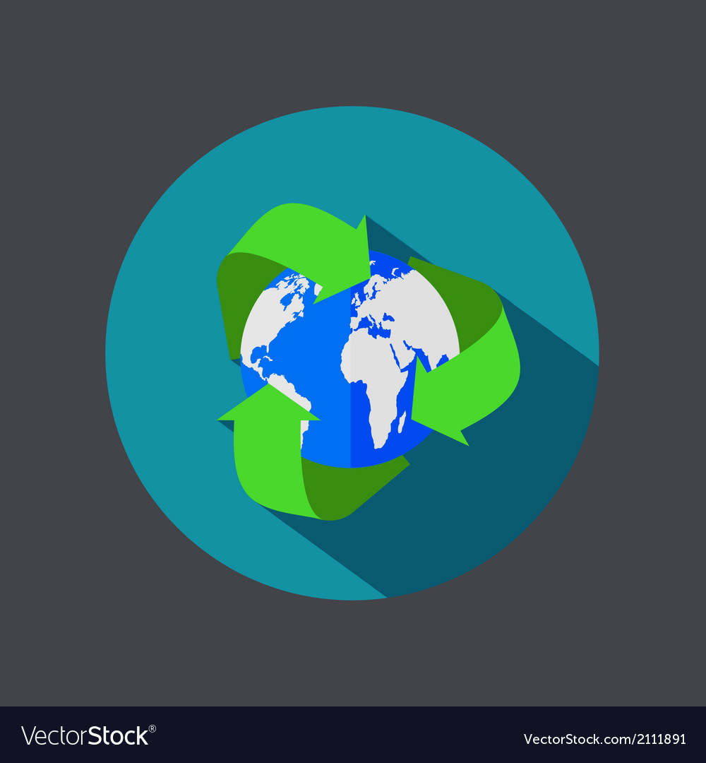Flat recycle earth icon on gray background vector | Price: 1 Credit (USD $1)