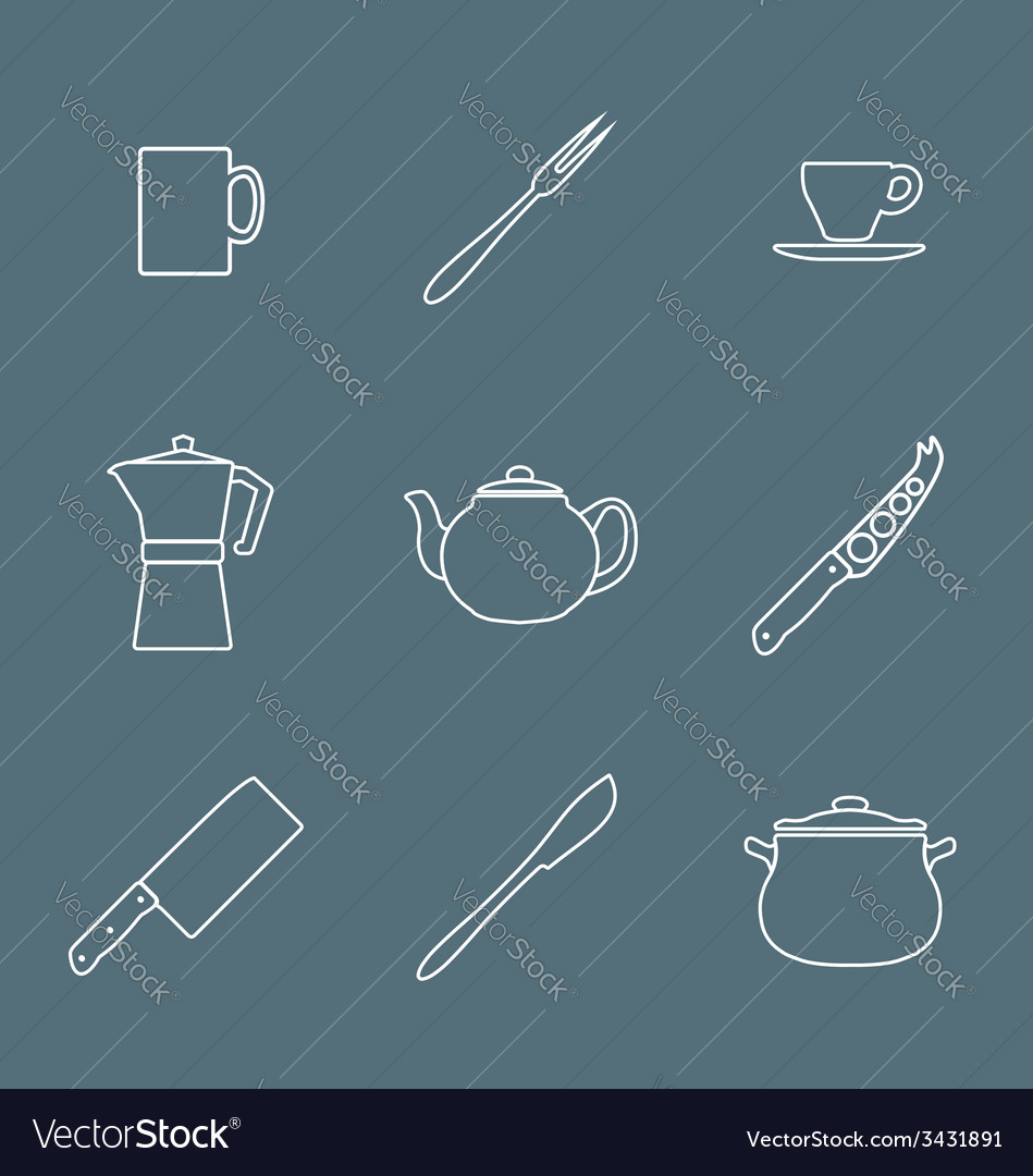 Flat white outline dinnerwarwe icons set vector | Price: 1 Credit (USD $1)