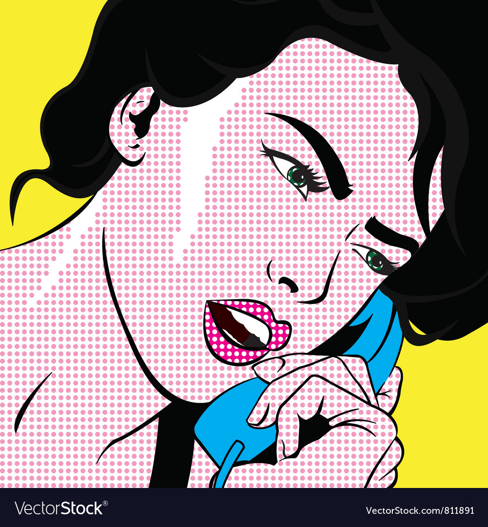 Girl with phone pop art vector | Price: 1 Credit (USD $1)