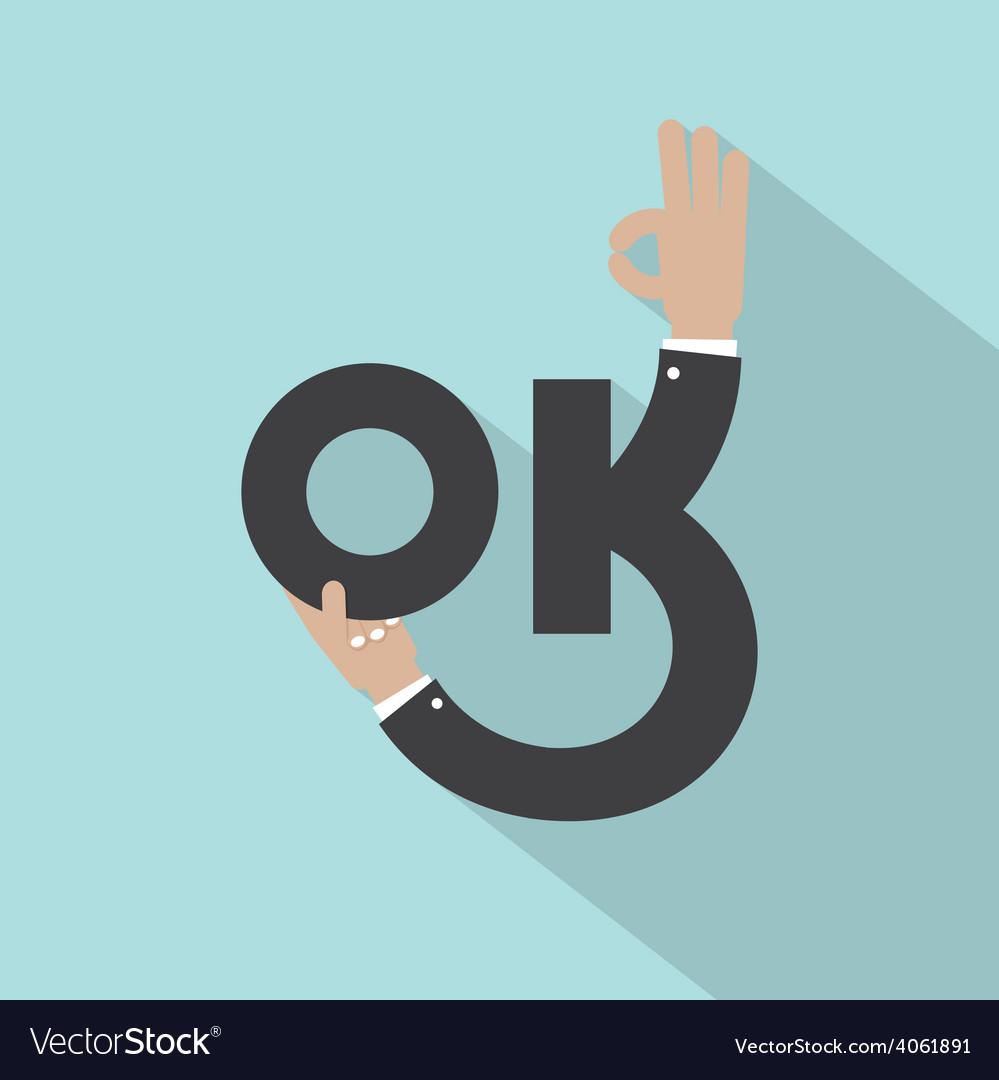 Hands with ok typography design vector | Price: 1 Credit (USD $1)