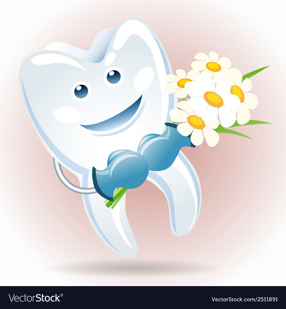 Joyful tooth with a bunch of camomiles vector | Price: 1 Credit (USD $1)