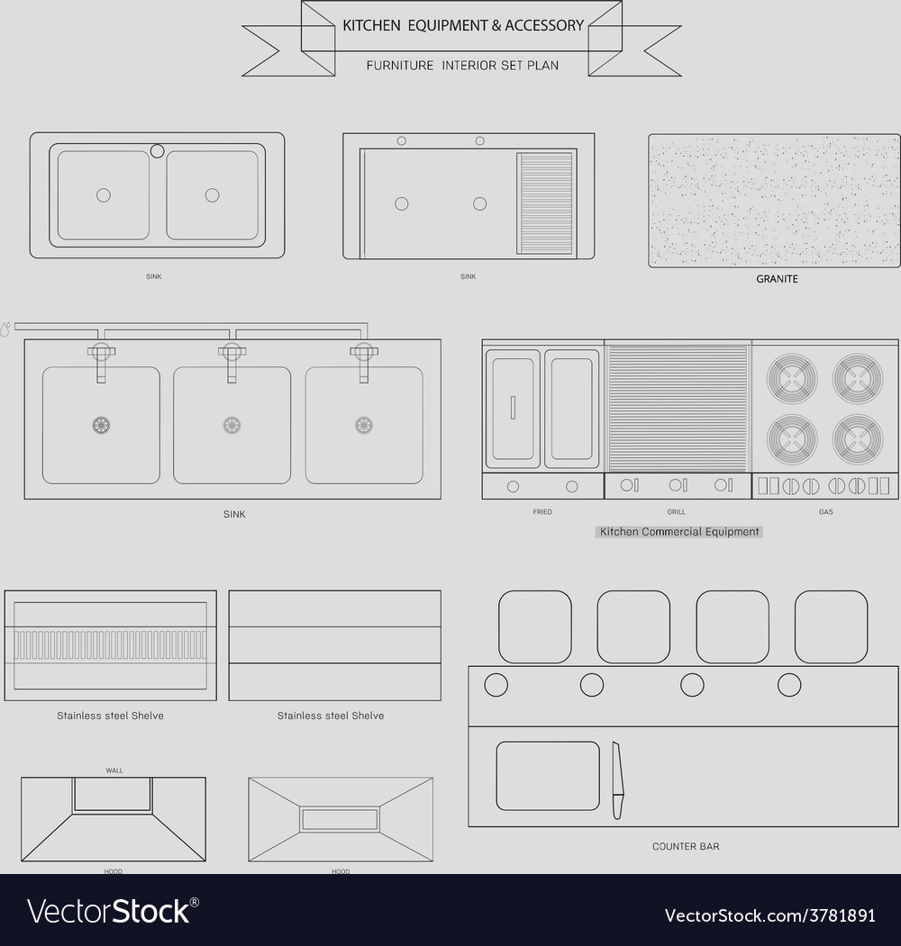 Kitchenvabinet furniture outline icon vector | Price: 1 Credit (USD $1)