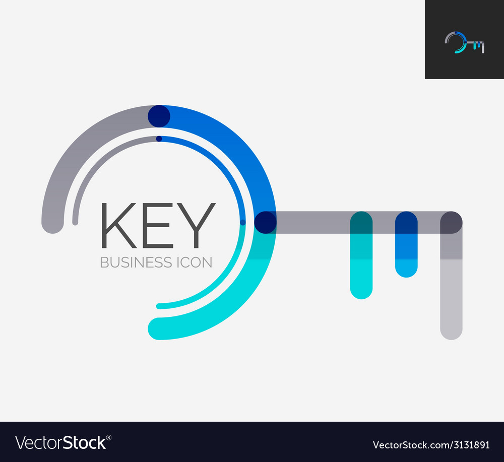 Minimal line design logo key icon vector | Price: 1 Credit (USD $1)