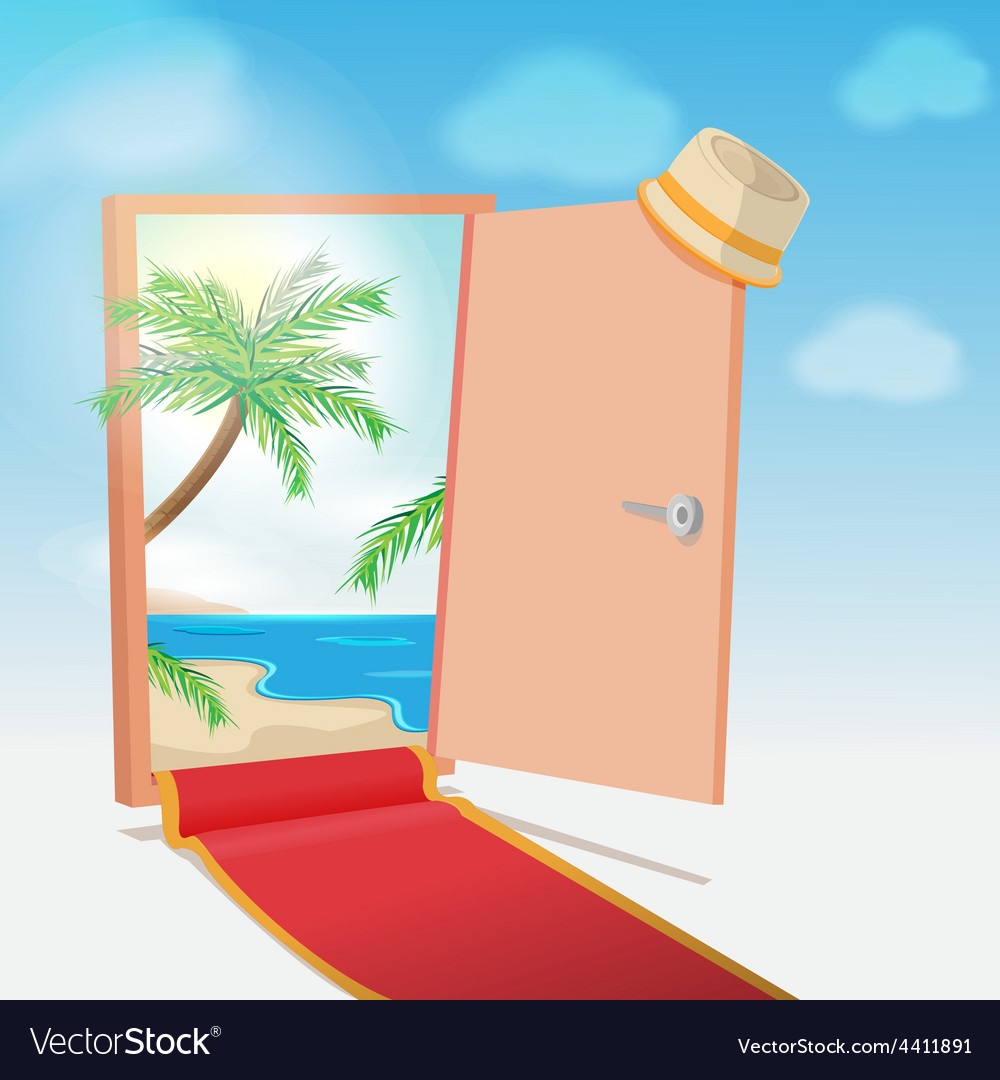 Opened door beach background travel vector | Price: 1 Credit (USD $1)