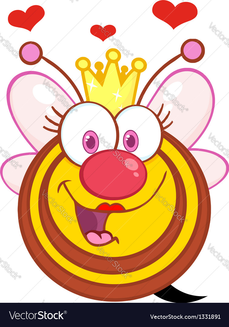 Queen bee cartoon mascot character with hearts vector | Price: 1 Credit (USD $1)