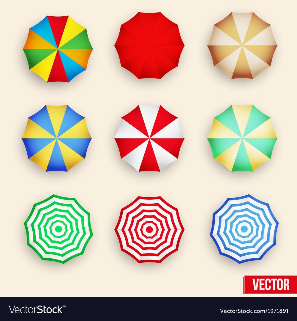 Symbol set of a parasol top view vector | Price: 1 Credit (USD $1)
