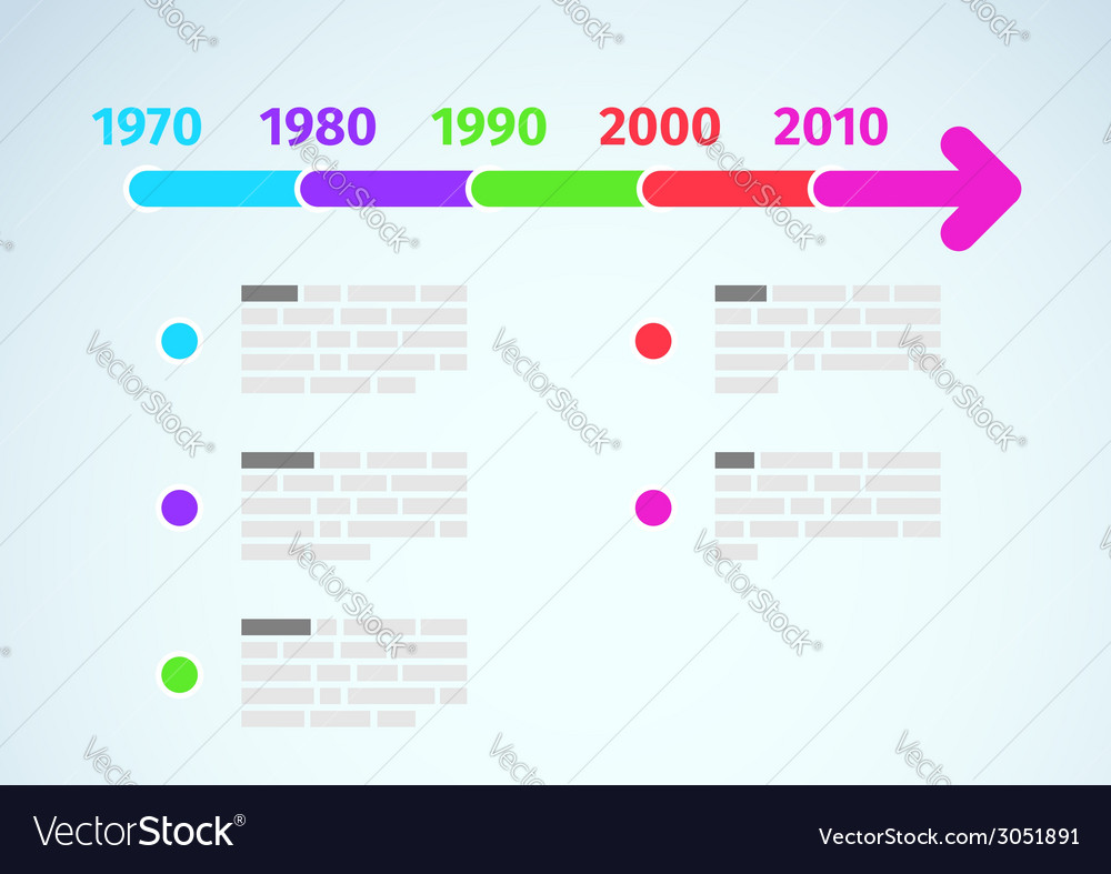 Timeline infographic with dates and description vector | Price: 1 Credit (USD $1)