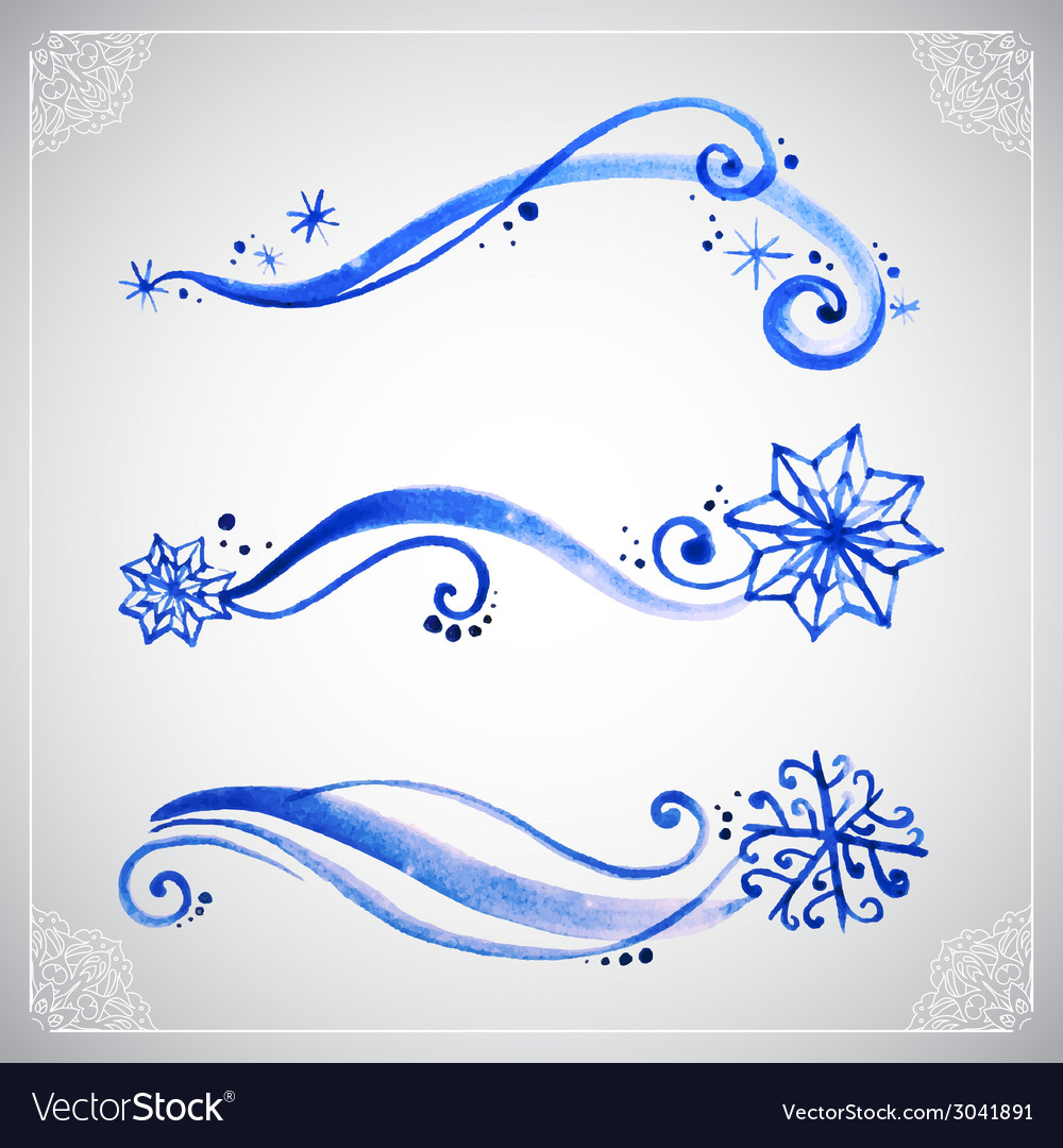 Watercolor winter frost ornament vector | Price: 1 Credit (USD $1)