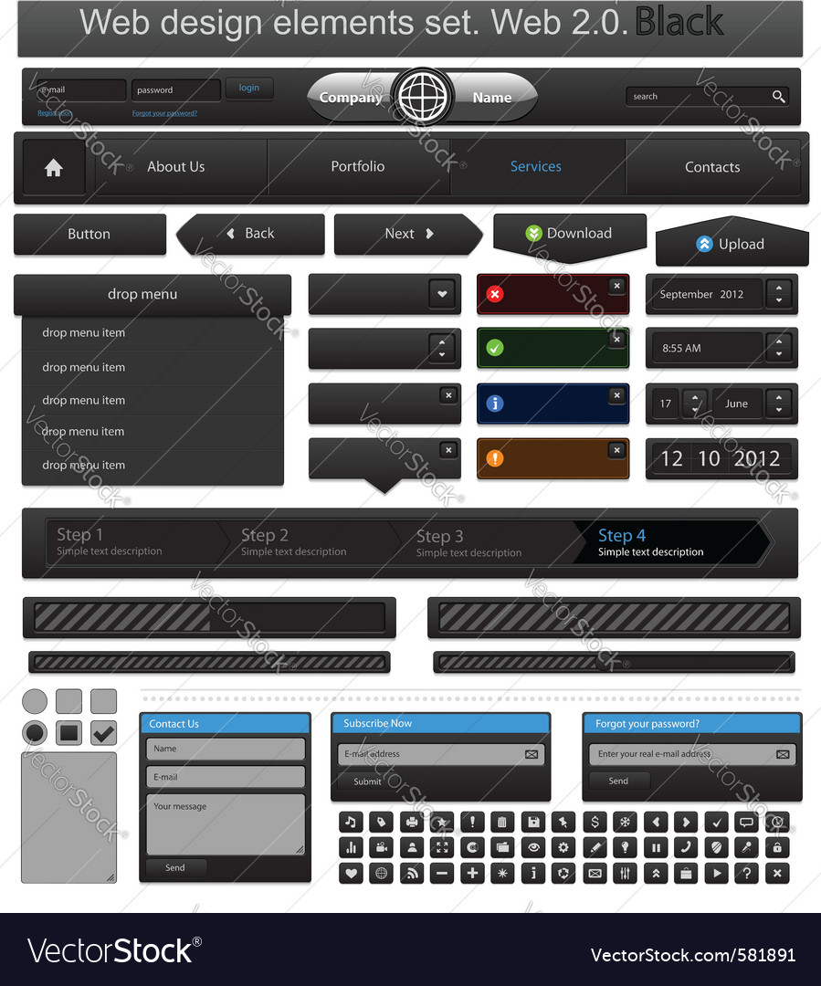 Web design elements set black vector | Price: 1 Credit (USD $1)