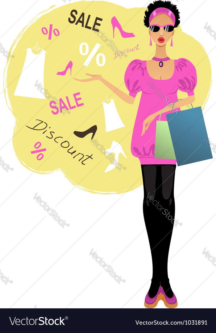 Young stylish woman vector | Price: 1 Credit (USD $1)