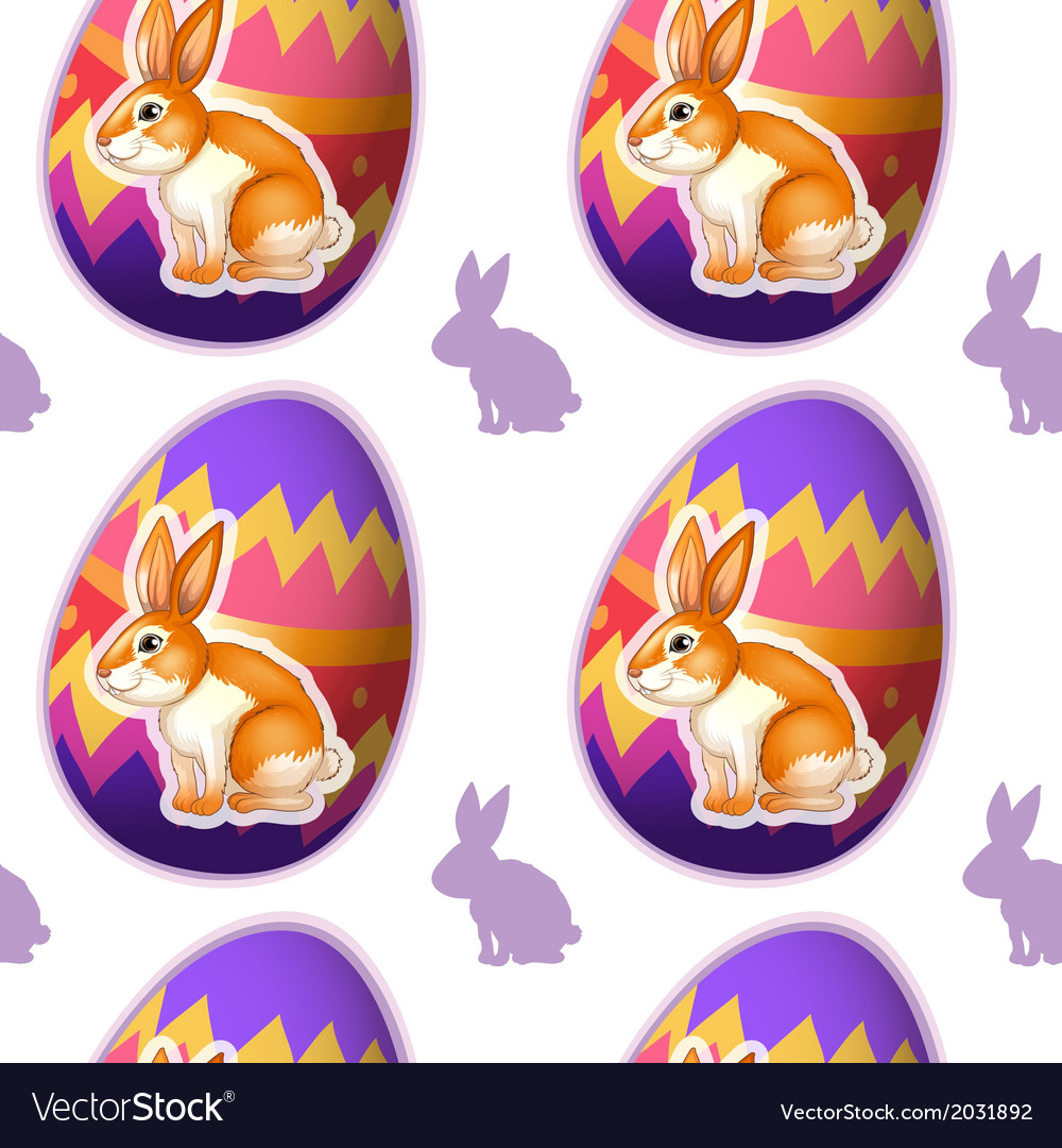 A seamless design with bunnies inside the eggs vector | Price: 1 Credit (USD $1)