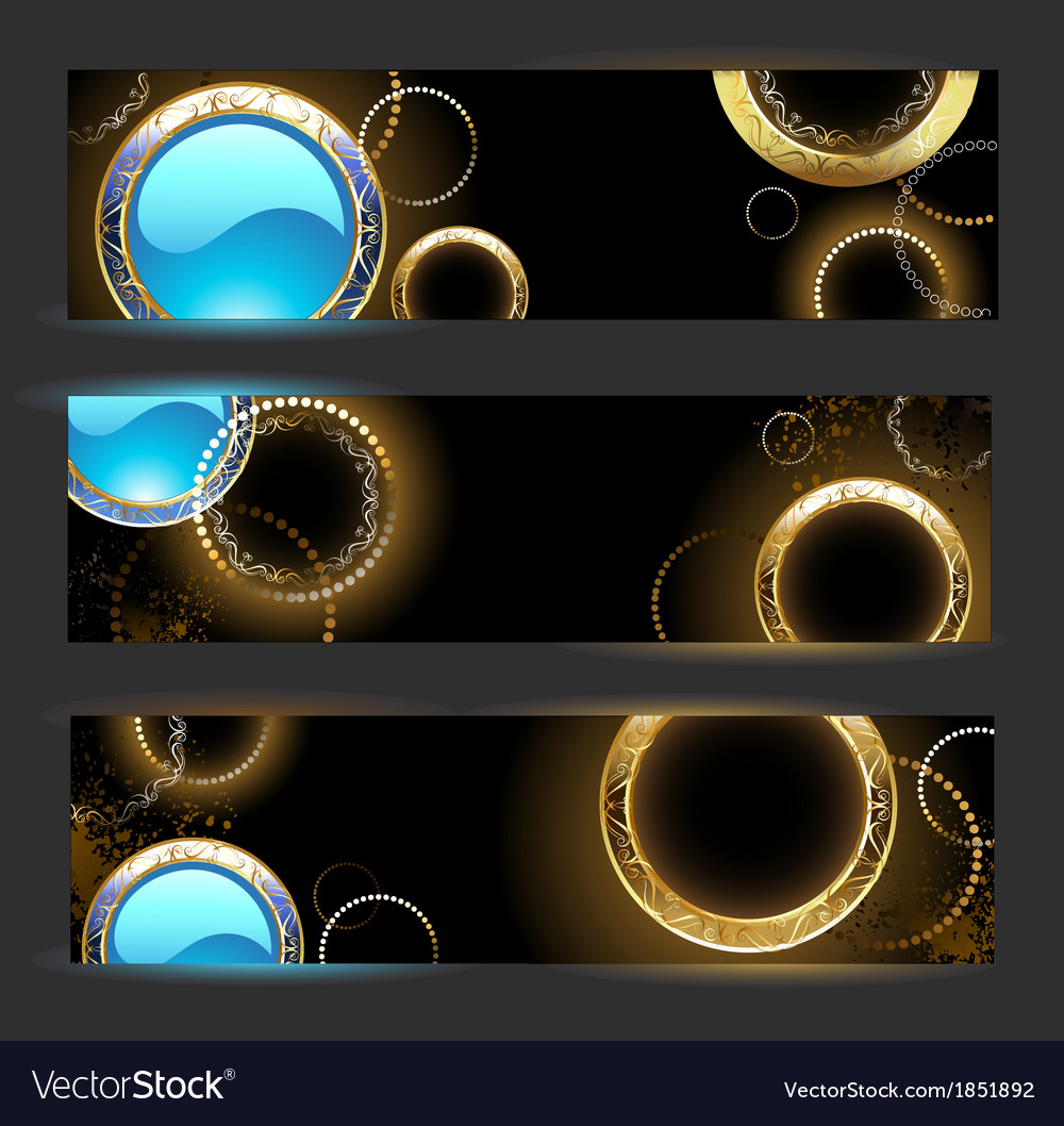 Banner with golden rings vector | Price: 1 Credit (USD $1)